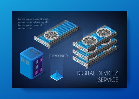 Videocard set of mining bitcoin on digital technology video cryptocurrency blockchain business. The component of electronic equipment high-tech industry isometric graphicscard.
