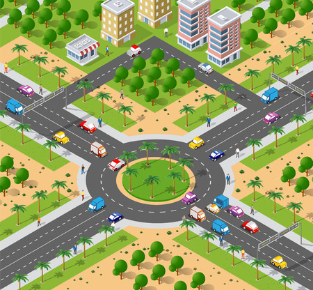urban area with an intersection Stock Illustratie