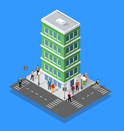 People walking around the city businessman business man isometric projection