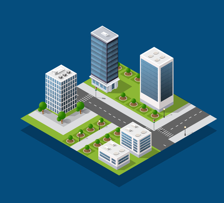 Isometric city block and urban infrastructure of houses, streets and trees. Illustration