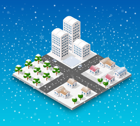 Christmas city isometric urban winter quarter in the snow and in snowflakes, snowstorms and the festive landscape of the New Year holidays Illustration