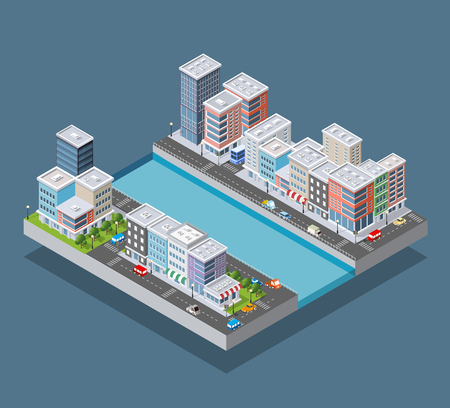 Isometric city block and riverbank embankment with buildings of houses, streets and trees. Vector stock illustration.