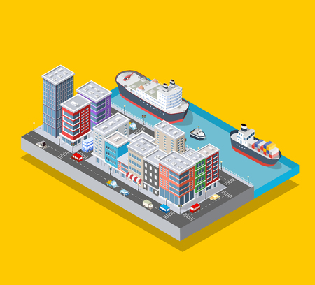 Isometric city block and riverbank embankment with buildings of houses, streets and trees. Vector stock illustration. Stock Vector - 117254236