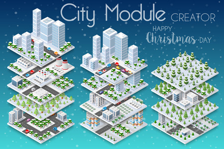 Winter Christmass city isometric with buildings, houses, roads, and cars for a festive background of urban conceptual projects