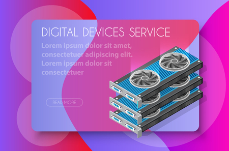 Video card set of mining bitcoin on digital technology video cryptocurrency blockchain business. The component of electronic equipment high-tech industry isometric graphics component. Stock Illustratie