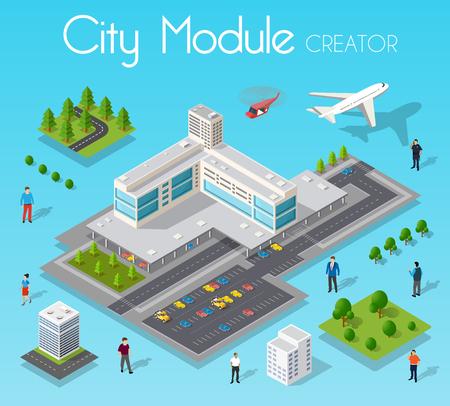 Isometrisches Set Modul Stadt Vektorgrafik