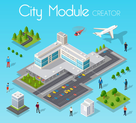 Isometric set module city Illustration