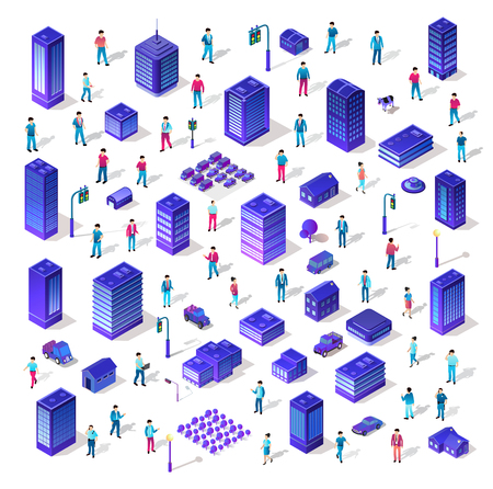Set 3d ultraviolet architecture city from isometric urban building street skyscraper. Vector concept business violet modern digital illustration for background design.