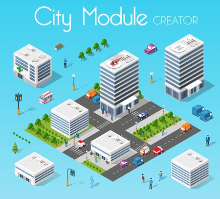 Isometric set module city Illustration