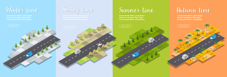 Isometric Seasons city with houses and streets with trees, fir and bushes. Season time of the year. Conceptual vector illustration.