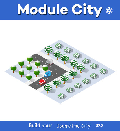 Winter Christmas, New Year is an isometric city with streets, roads, houses and transport.