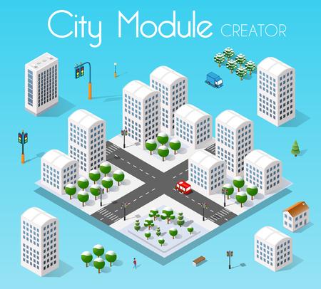 Isometric set module city Vektoros illusztráció