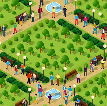 City park with people and trees. Urban infrastructure illustration Illustration