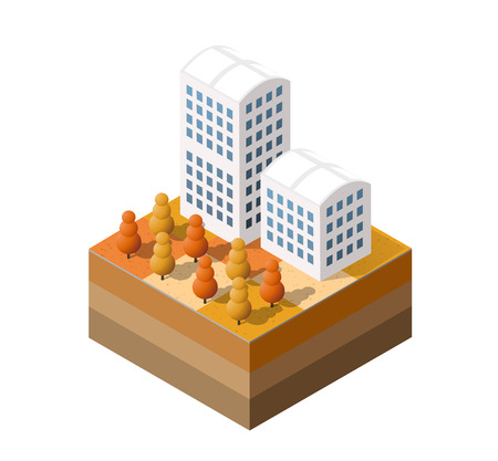 Isometric autumnal city