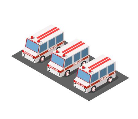 Ambulance car isometric avto van bus paramedic Illustration