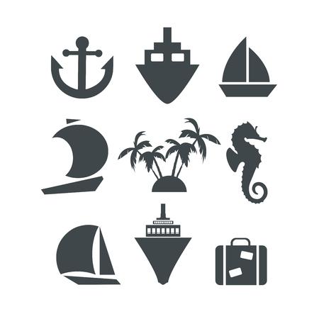Silhouette icons set Illustration