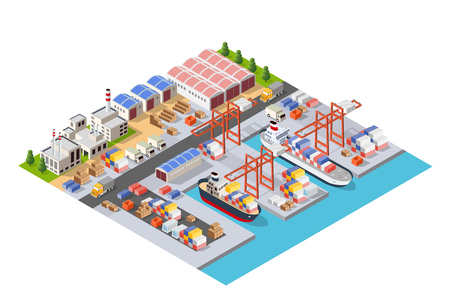 Isometric City Boulevard with an industrial port with cruise and transport boat and naval ships nautical transport on the sea for travel vacation tourism illustration. Isometric set of transportation 向量圖像