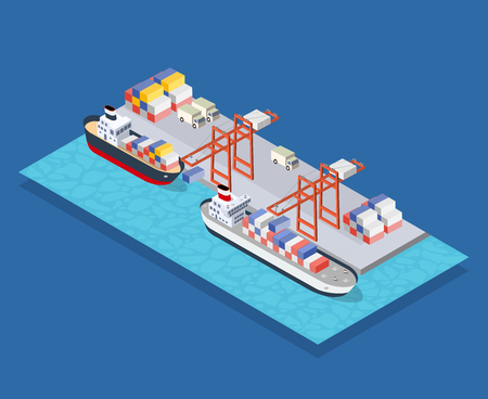 Isometric City Boulevard with an industrial port with cruise and transport boat and naval ships nautical transport on the sea for travel vacation tourism illustration. Isometric set of transportation Иллюстрация