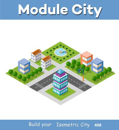Isometrisches Set Modul Stadt