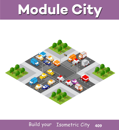 City boulevard isometric avenue. Transport car, urban and asphalt, traffic. Crossing roads flat 3d dimensional illustration of public town