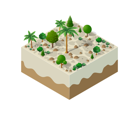 An isometric natural landscape of palm trees, vector illustration of a desert with sand, stones and bushes. Conceptual 3d graphics for the game background.