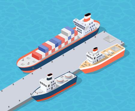 Porto industriale del bacino della città isometrica con l'industria del carico del contenitore il trasporto e il trasporto della nave navale navi nautiche sul mare per l'illustrazione della spedizione di distribuzione terminale. Set di trasporto navale Vettoriali