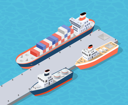 Isometric City industrial dock port with container cargo industry freight and transport boat naval ships nautical on the sea for terminal distribution shipment illustration. Set of ship transportation Illustration