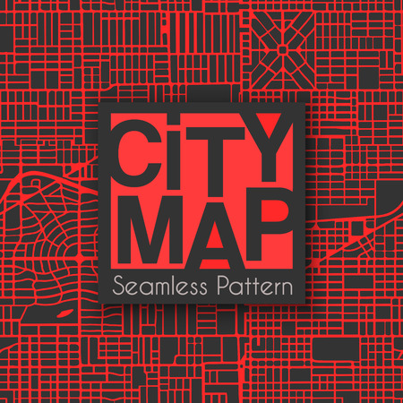 Abstract seamless city plan street map pattern cartography. Repeating town plan vector illustration. Illustration