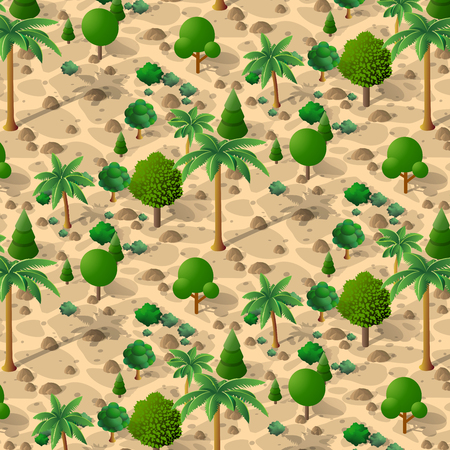 An isometric natural landscape of palm trees, vector illustration of a desert with sand, stones and bushes. Conceptual 3d graphics for the game background. Illustration