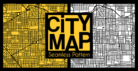 Abstract set seamless city plan street map pattern cartography. Repeating town plan vector illustration.