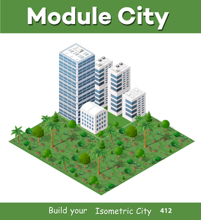 Modern 3D city isometric three-dimensional infographic option banner with colorful isometric city for the business conceptual graphs and diagrams, including skyscrapers, homes and stores with streets Illustration