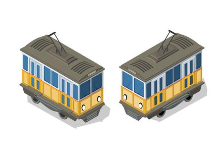 Isometric tram metro urban Illustration