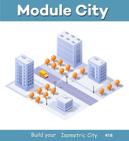 Isometric illustration megapolis city quarter with streets, skyscrapers, trees and houses. Urban landscape top view Illustration