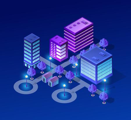 Vector isometrische stedelijke architectuur gebouw van moderne stad met straat, wolkenkrabber en stad, huis. Voor bedrijfsillustratie en bouw de vormachtergrond van de kaart Vector Illustratie