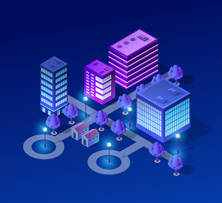 Vektor isometrische Stadtarchitektur Gebäude der modernen Stadt mit Straße, Wolkenkratzer und Stadt, Haus. Für Geschäftsillustration und Baukartenformhintergrund Vektorgrafik