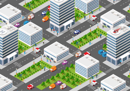 Isometric set module city with skyscraper from urban building vector architecture. Modern illustration for design game and business shape background