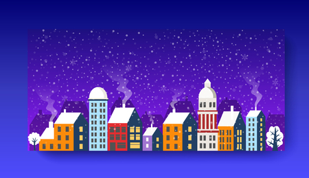 City landscape Christmas with Snow Snowflakes festive celebration template presentation design concept illustration