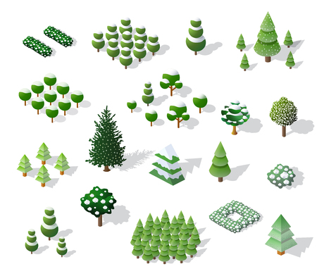 Set of Christmass winter trees and firs Illustration
