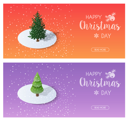 Snow covered Christmas trees forest countryside in the snow winter holiday Illustration