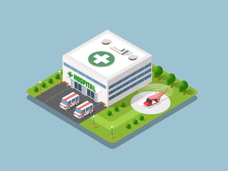 Krankenhaus isometrische 3D-Gebäudegesundheit Urban der Architektur Infrastruktur Krankenwagen und modernes Hauskonzept-Symbol Vektorgrafik