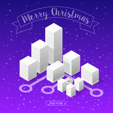Winter Christmas landscape snow covered futuristic isometric city from smart business technology, digital modern concept background holiday