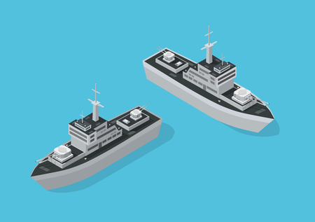 Warship military boat naval Battleship Navy with guns. Isometric ship army vector illustration stock image. Vettoriali