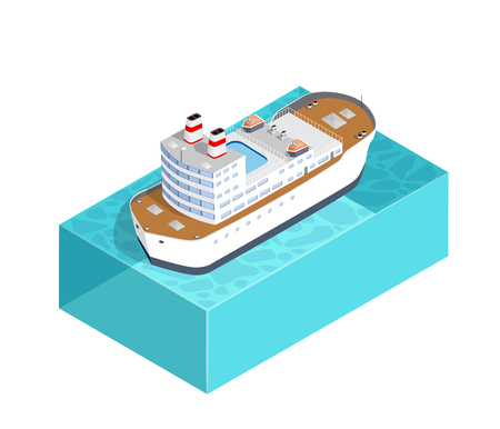 Isometric ship cargo container and tourist liner of the industrial port and tourist berths of boats with an illustration of the transport of goods and logistics industry.