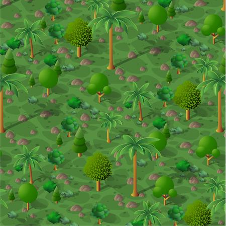 Un paysage naturel isométrique de palmiers, illustration vectorielle d'un désert avec du sable, des pierres et des buissons. Graphiques conceptuels en 3D pour l'arrière-plan du jeu.