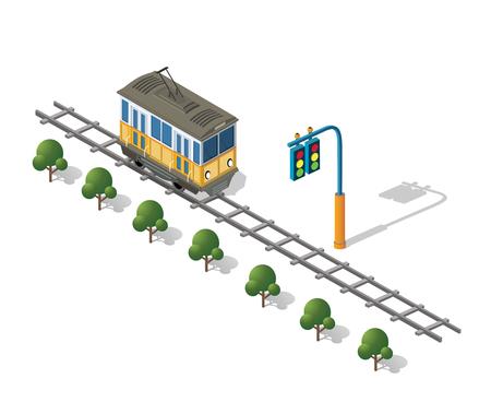 Isometric tram metro urban transport urbanistic elements of the urban economy structure. Vectores