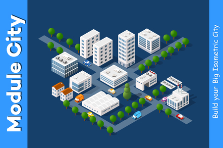 Set of town district of the city in isometric landscape urban infrastructure of houses, streets and buildings Иллюстрация