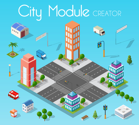 Isometric set module city with skyscraper from urban building vector architecture. Modern white illustration for design game and business shape background