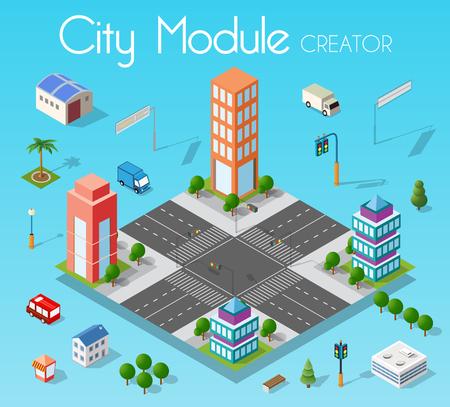 Isometrische Satzmodulstadt mit Wolkenkratzer von der städtischen Gebäudevektorarchitektur. Moderne weiße Illustration für Designspiel- und Geschäftsformhintergrund