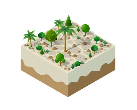 An isometric natural landscape of palm trees, vector illustration of a desert with sand, stones and bushes. Conceptual 3d graphics for the game background. Иллюстрация