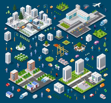 Isometrische Satzmodulstadt mit Wolkenkratzer von der städtischen Gebäudevektorarchitektur. Moderne Illustration für Designspiel- und Geschäftsformhintergrund